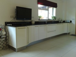 kitchen with black worktop