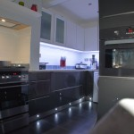 modern kitchen with floor lights