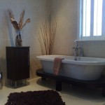 bathroom with stylish bath